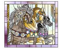 stained glass carousels | carousel three horses cropped three carousel horses in a stained glass ... Faux Stained Glass, Stained Glass Projects, Stained Glass Patterns, Mosaic Art, Mosaic Glass, Mosaics, Art Of Glass, Window Clings, Faux Painting