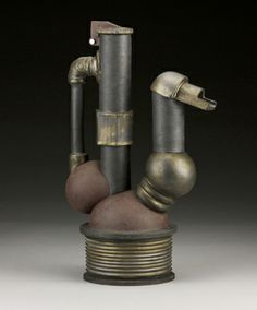 """Andrew Massey- """"Industrial Smokestack Teapot #1"""" stoneware electric fired with oxides and glazes, steel bolt"""