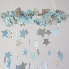 Boy Nursery Decor - Nursery Mobile Stars in Baby Blue & Gray