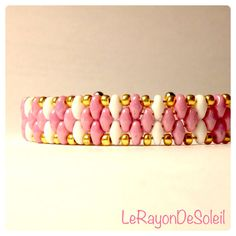 Bracelet. Pink & white SuperDuo with golden by LeRayonDeSoleil, €21.00