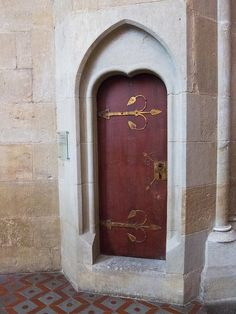 Gothic hinged church door