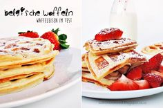 belgian waffles - waffles with strawberries