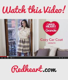 Cozy Car Coat in Red Heart Grande