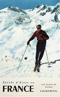 Courchevel, France (vintage ski poster - SPORTS D'HIVER, COURCHEVEL 1959)