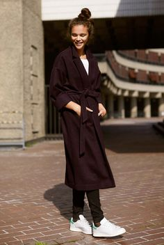 top knot, belted coat & sneakers #style #fashion