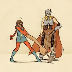 Ms. Marvel vs Mjolnir. A.k.a Kamala Khan meets Jane Foster. ➞ jimtowe