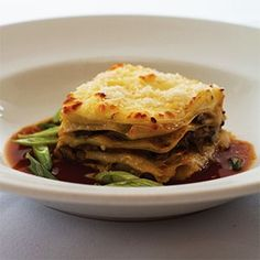 Duck Lasagna - with chianti and dried cherries in the sauce, bechamel top