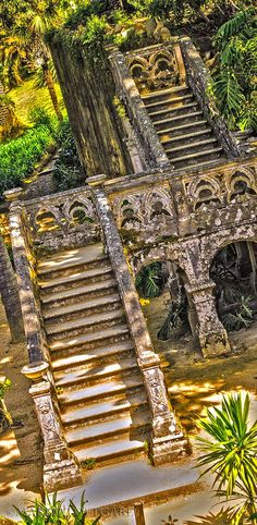 Ancient arches on these beautiful stairs,Palacio de Monserrate, Sintra, Portugal. by MaritaToftgard