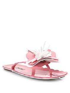 7e5690273 Miu Miu - Flower-Appliqué Leather Flip Flops Leather Flip Flops