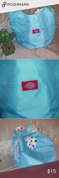 Dickies sports bag Dickies Sports bag that's blue on the outside and polka dots on the inside. Pre lab but in good condition very clean still. The handles have a little wear on them. 7x5x9 Dickies Bags Shoulder Bags