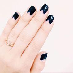 Navy Triangle Half Moon Manicure