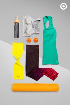"""Keep calm and """"om"""" on with C9 Champion yoga gear perfect for your practice. Forget matchy-matchy and go with bright and bold color combos. Pair ombre leggings with a lightweight tank for a fun look. Add an Orla Kiely water bottle, resistance bands, a yoga mat and more so you're ready to start your flow."""
