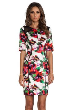 MILLY Floral Print Paneled Raw-Edge Sleeve Dress in Multi from REVOLVEclothing