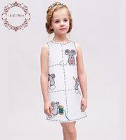 O Vestido da menina Crianças Roupas de Verão 2016 Crianças Vestidos para Meninas Roupas Do Mouse Padrão Criança Vestido com Cristal Robe Princesse Fille