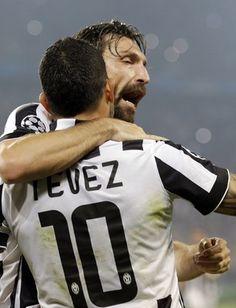 Tevez e Pirlo - Juventus x Real Madrid (Foto: AP)