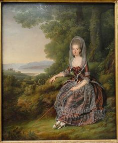 Baroness Matilde Guiguer de Prangins in Her Park at Lake Leman, by Jens Juel, 1779 Statens Museum for Kunst - Wikimedia Commons 18th Century Dress, 18th Century Costume, 18th Century Clothing, 18th Century Fashion, 17th Century, Louis Xvi, Rose Bertin, Reign, Mode Rose