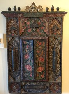 Magnificent Persian Qatar 19th Century Hand Painted Wall Mirror.