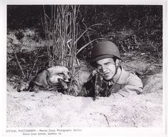 "Fox-Hole Buddies, 14 October 1943 by Marine Corps Archives & Special Collections, via Flickr. ""'A Marine can share my fox-hole any day', says Rusty the Red Fox. Private Harry W. Weber, 19, son of Mr. and Mrs. H.B. Weber of Skowhegan, ME does just that as he aims his rifle in the field at the Quantico, VA, Marine Base. Rusty is Private Weber's pet."" From the Photograph Collection (COLL/3948), Marine Corps Archives & Special Collections"
