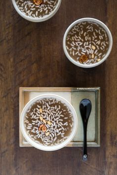 Sikhye recipe. It's a popular Korean dessert drink!   MyKoreanKitchen.com