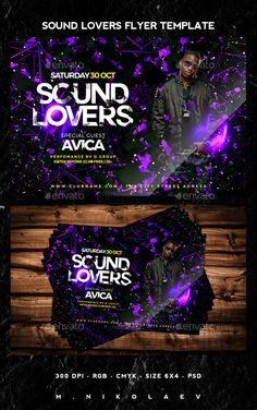 Sound Lovers Flyer Template PSD #design Download: http://graphicriver.net/item/sound-lovers-flyer/12821419?ref=ksioks