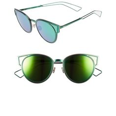 44a863cb5 Women's Dior Sculpts 53Mm Cat Eye Sunglasses ($595) ❤ liked on Polyvore  featuring accessories, eyewear, sunglasses, shiny green, christian dior  sunglasses, ...