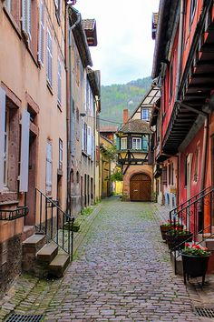 "Joseph Abhar - Colmar , Alsace, France capital of Alsatian wine, known for its quaint canals and as ""Little Venice"", with Cobblestone street"