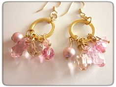 Swarovski Pink and Gold Dangle Earrings | jnldesigns - Jewelry on ArtFire