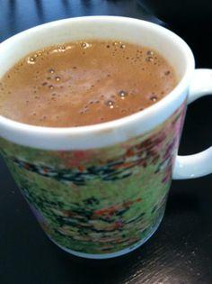 Yerba mate tea, almond milk, raw cacao, maca, coconut oil, hemp seeds, mucuna pruriens, vanilla, dates.  Power chocolate.