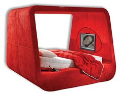 Sphere bed - built in TV, LED lighting, vanity mirror outside, even a cup-holder. This is magical.