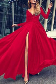Women's Autumn Long Sleeve V-Neck Maxi Split Dress Evening Party Beach Party Solid ColorSundress Spring Dresses Casual, Formal Dresses, Floryday Dresses, Dress Casual, Evening Dresses, Floryday Vestidos, Long Sleeve Maxi, Dress Brands, Color Negra
