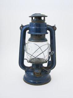 Blue antique oil lamp