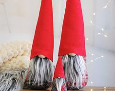 Christmas Gnome Set of 3 - Special Plaid Edition 2017 - Tomte , Nordic Gnome Scandinavian Tomte or Nisse