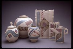 Christy Johnson - Group shot. Late 1980s. Cone 5 porcelain; latex resist; slip - brushed and trailed; clear glaze; electric fired.
