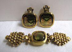 Vintage Big Rhinestone Pin and Earrings Set 1980's