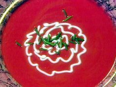 Chilled Beet Soup with Chives recipe from Sara's Secrets via Food Network