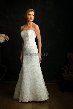 A-line Wait Open Back Lace Natural Strapless Timeless Wedding Dress