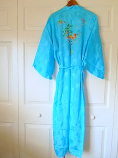 Vintage electric blue Chinese embroidered Kimono by houuseofwren