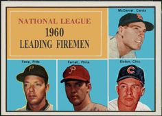 1961 Topps,  1960 National League Leading Firemen, Baseball Cards That Never Were. Lindy McDaniel, St. Louis Cardinals, Roy Face, Pittsburgh Pirates, Turk Farrell, Philadephia Phillies, Don Elston, Chicago Cubs.