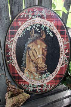Horse Plaque Red Plaid