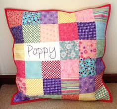 """Poppy"" personalised patchwork pillow by Missy Mac Creations"