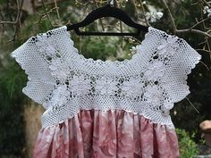 Vintage-inspired free pattern features a crochet lace bodice recreated to embellish a simple dress pattern to create a unique piece of wearable art. Vintage Crochet Dresses, Crochet Lace Dress, Crochet Fabric, Lace Fabric, Crochet Patterns, Dress Lace, Crochet Girls, Crochet Tops, Free Crochet