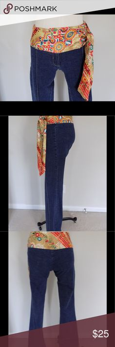"""Cache Stretch Jeans w/Silk Tie Belt Size 2 Adorable pair of Stretch jeans 👖 from Cache.  Size 2.  96%cotton 3% spandex with 100 % silk attached belt.  Slight flare leg.  Sewn in crease.  Made in 🇺🇸.  Measures: 30"""" waist, 36"""" hip, 8.5"""" rise and 34"""" inseam. Cache Jeans Flare & Wide Leg"""