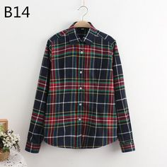 LOSSKY 2017 Women's Plaid Shirt Female College style Blouses Long Sleeve Flannel Shirt Plus Size Cotton Blusas Office tops