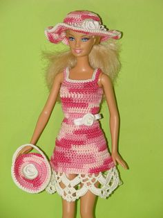 Barbie clothes Barbie dress Barbie birthday outfit Barbie doll clothes Barbie accessory Barbie dress Dress for barbie Crochet dress Click VISIT link for more info Crochet Barbie Clothes, Doll Clothes Barbie, Barbie Dress, Doll Dresses, Knitted Dolls, Crochet Dolls, Crochet Short Dresses, Barbie Sewing Patterns, Pink And White Dress