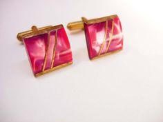 Vintage Cranberry Slag Cufflinks Marbled Art by NeatstuffAntiques, $60.00