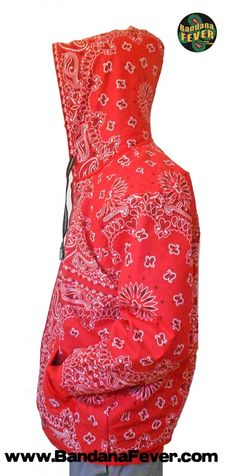 aad7f3a71670 Bandana Fever - Bandana Fever Custom Whole Bandana Hoodie Zipper Red Red  Bandana
