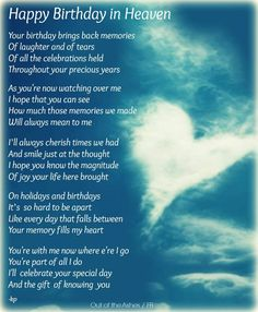 Happy Birthday in Heaven; I miss you and love you!