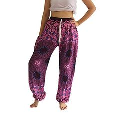Magenta Mandala Harem Pants for Men Womens Boho Hippie Baggy Yoga Trousers Cool Hippie Pants, Boho Pants, Boho Hippie, Yoga Trousers, Harem Pants, Elephant Pants, Flowy Pants, Pants For Women, Clothes For Women