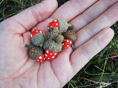 Toadstool acorns. Would make cute christmas tree ornaments!!
