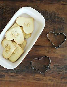 Cookie cutters for apple hearts <3